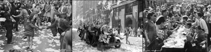 People of England dancing, singing and hosting street parties as they celebrate Victory in Europe back in 1945.