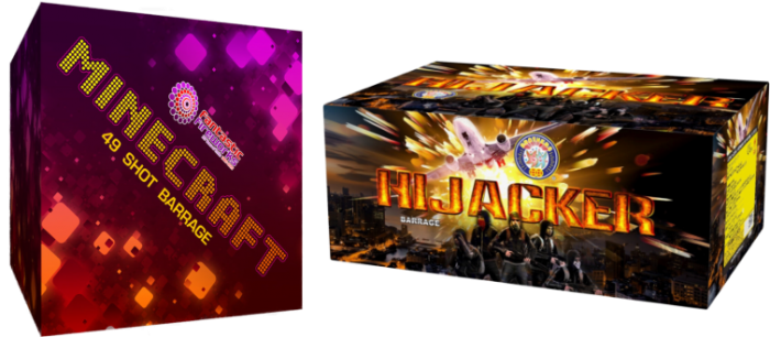 Multi shot Fireworks Minecraft and Hijacker, perfect for that grand opening.