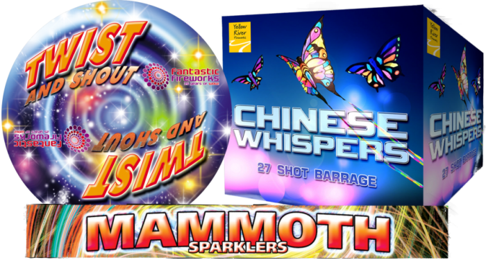 Daytime fireworks, Twist and Shout, Chinese Whispers and Mammoth Sparklers.