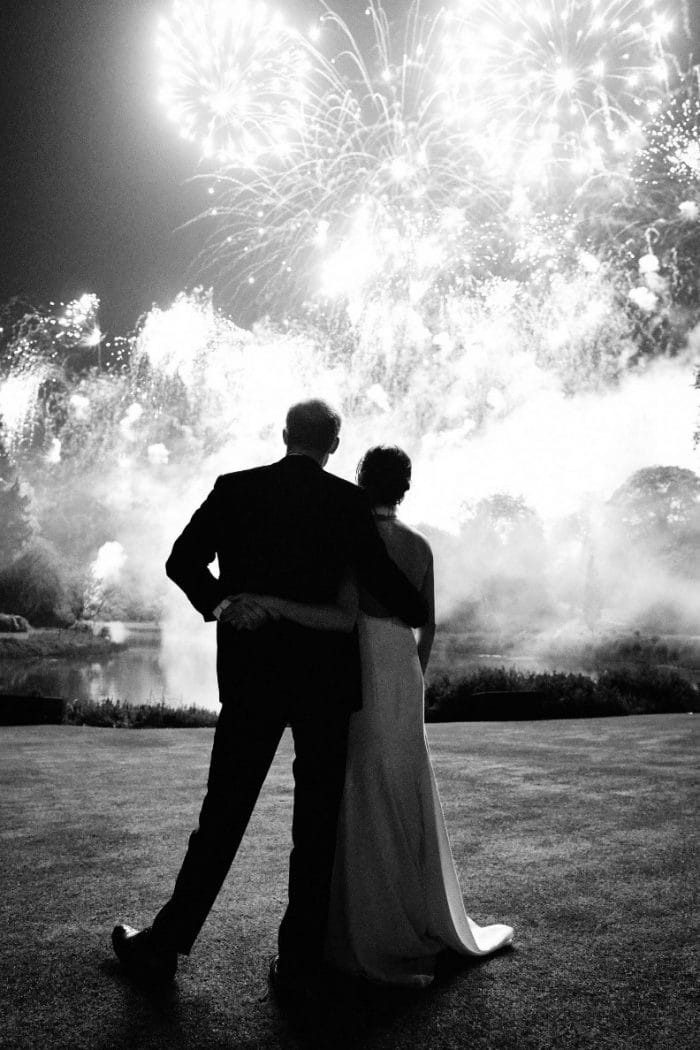 Duke and Duchess of Sussex watching their stunning fireworks display unfold at their wedding in 2018.