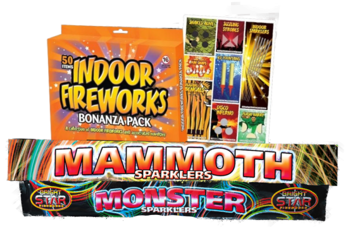 Mammoth and Monster Sparklers alongside inside fireworks Bonanza Pack.