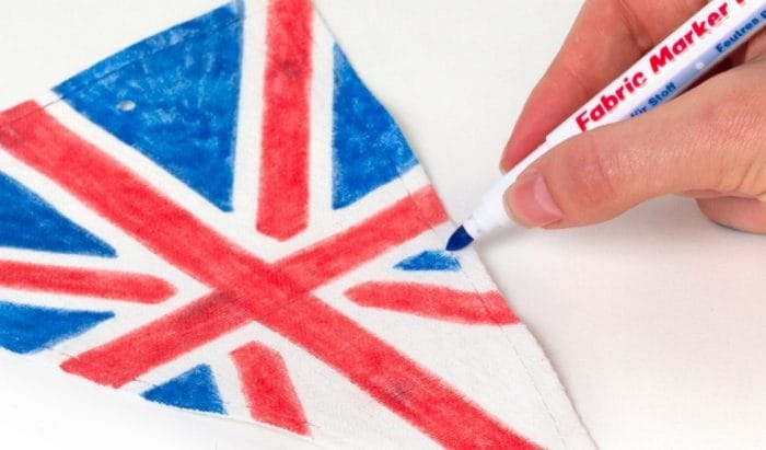 Arts and crafts - a union jack bunting being coloured in.