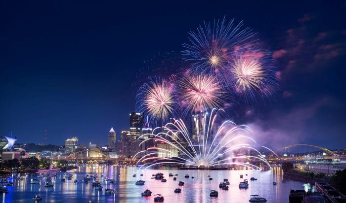 Professional fireworks display in 2017 in Pittsburgh on 4th July.