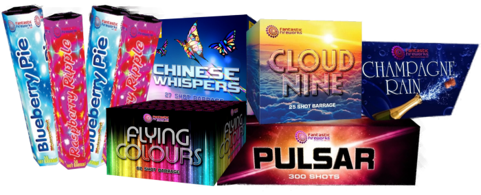 Selection of Fireworks including Blueberry Pie, Raspberry Ripple, Chinese Whispers, Flying Colours, Cloud Nine, Pulsar Candles and Champagne Rain.