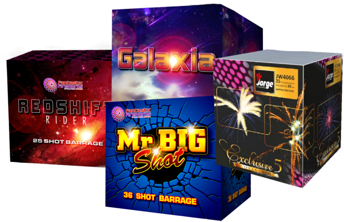 A selection of our multishot fireworks - Redshift Rider, Galaxia, Mr Big Shot & Exclusive Selection.