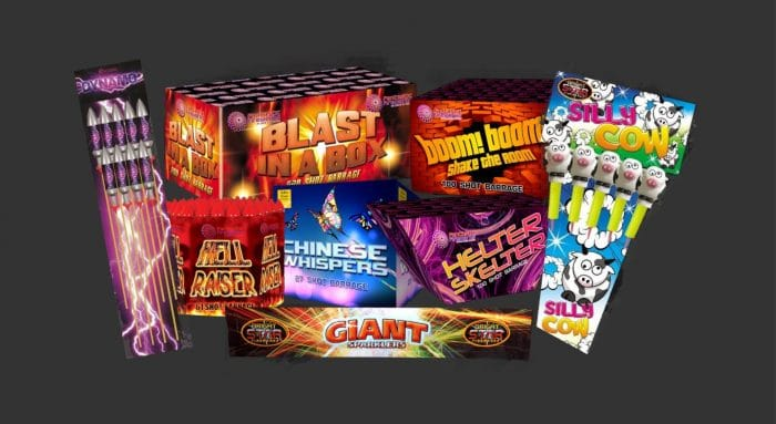 Dynamo Rockets, Blast in a Box, Hell Raiser, Chinese Whispers, Boom Boom Shake the Room, Helter Skelter, Silly Cow Rockets and Giant Sparklers.