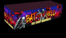 Bat Out Of Hell - multishot firework for sale at Fantastic Fireworks. Recommended for a Halloween display!