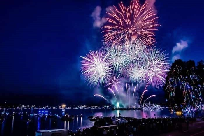 The Celebration of Light fireworks display in Vancouver, Canada.