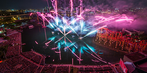 Image of the Monteal International Fireworks Competition over a body of water.