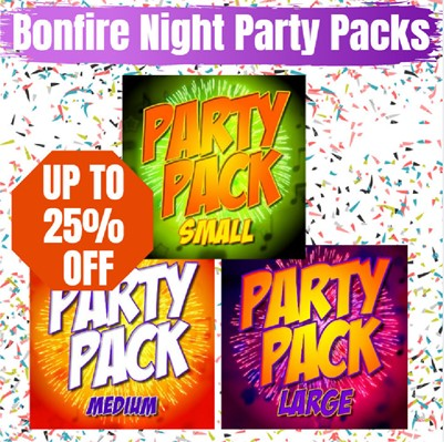 3 of Fantastic Fireworks party display packs available online.