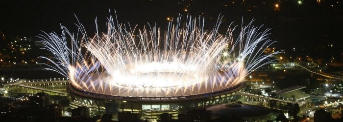 Part of the fireworks display in the opening ceremony of Rio 2016 Olympic Games.