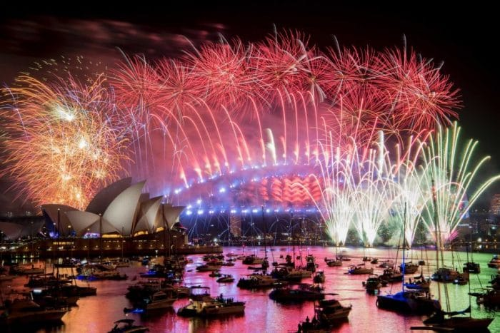 Image of the fireworks display on New Years Eve in Sydney, Australia