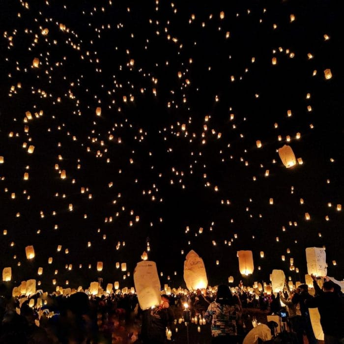 an image of the lighting of small oil lamps known as Diya's, filling the sky.